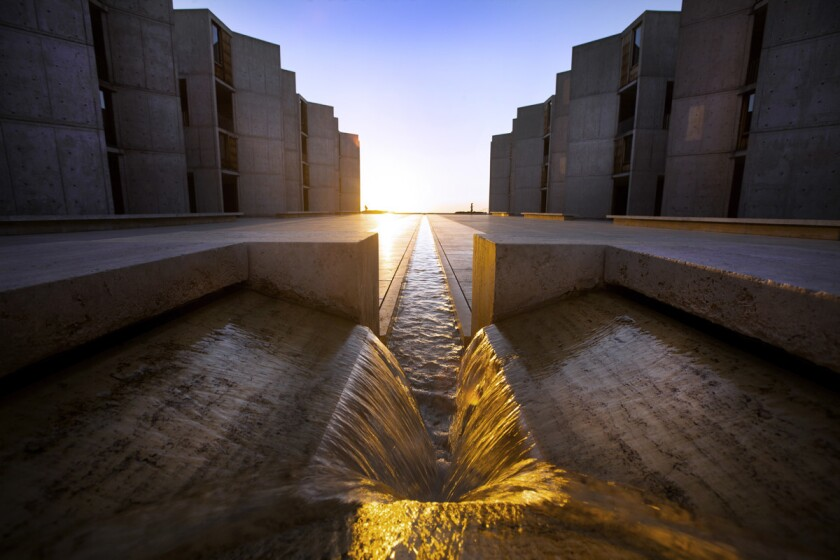 "Water flows in the ""River of Life,"" in the center of the courtyard at the Salk Institute for Biological Studies in La Jolla."