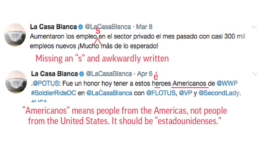 A sampling of tweets from @LaCasaBlanca with spelling and grammar corrections.