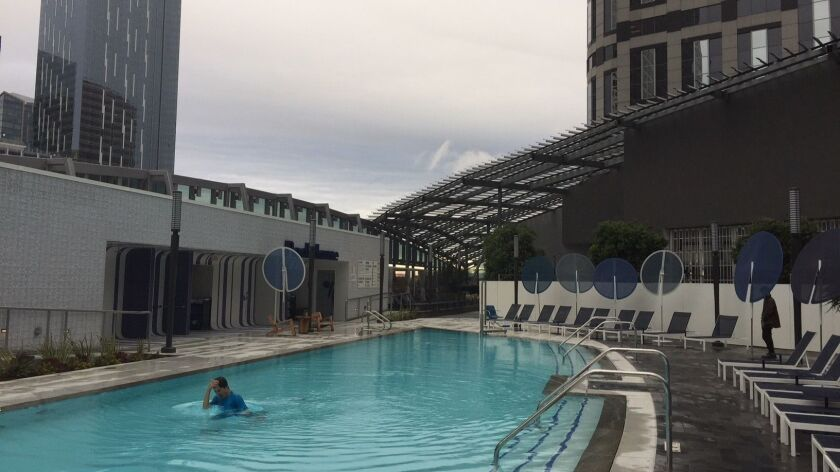 A visitor enjoys the pool for one at the InterContinental hotel.