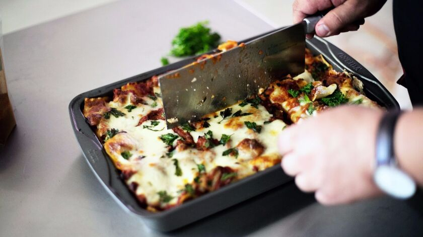 A pan of lasagna from the new Secret Lasagna restaurant in Chinatown, opening July 19.