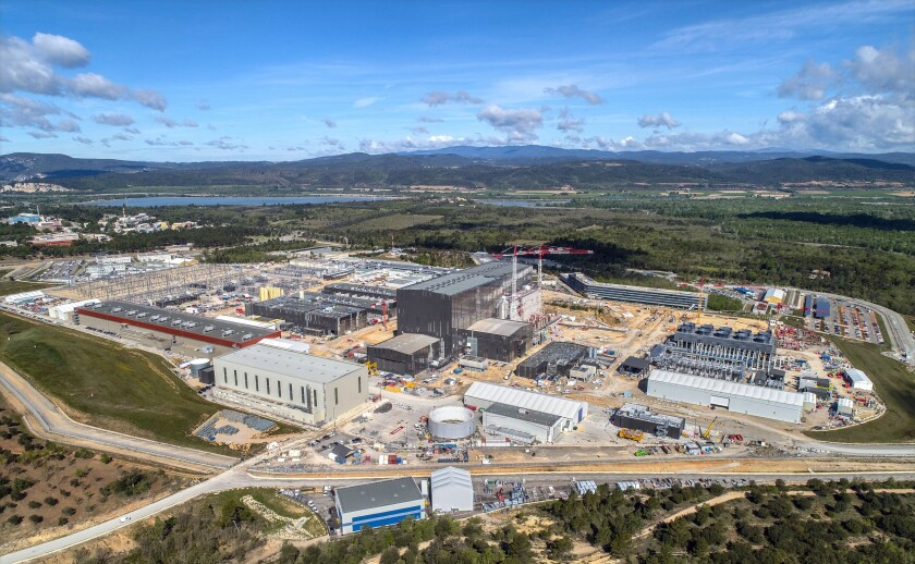 Construction of the ITER nuclear fusion project outside the town of Cardarache, France in May 2021.