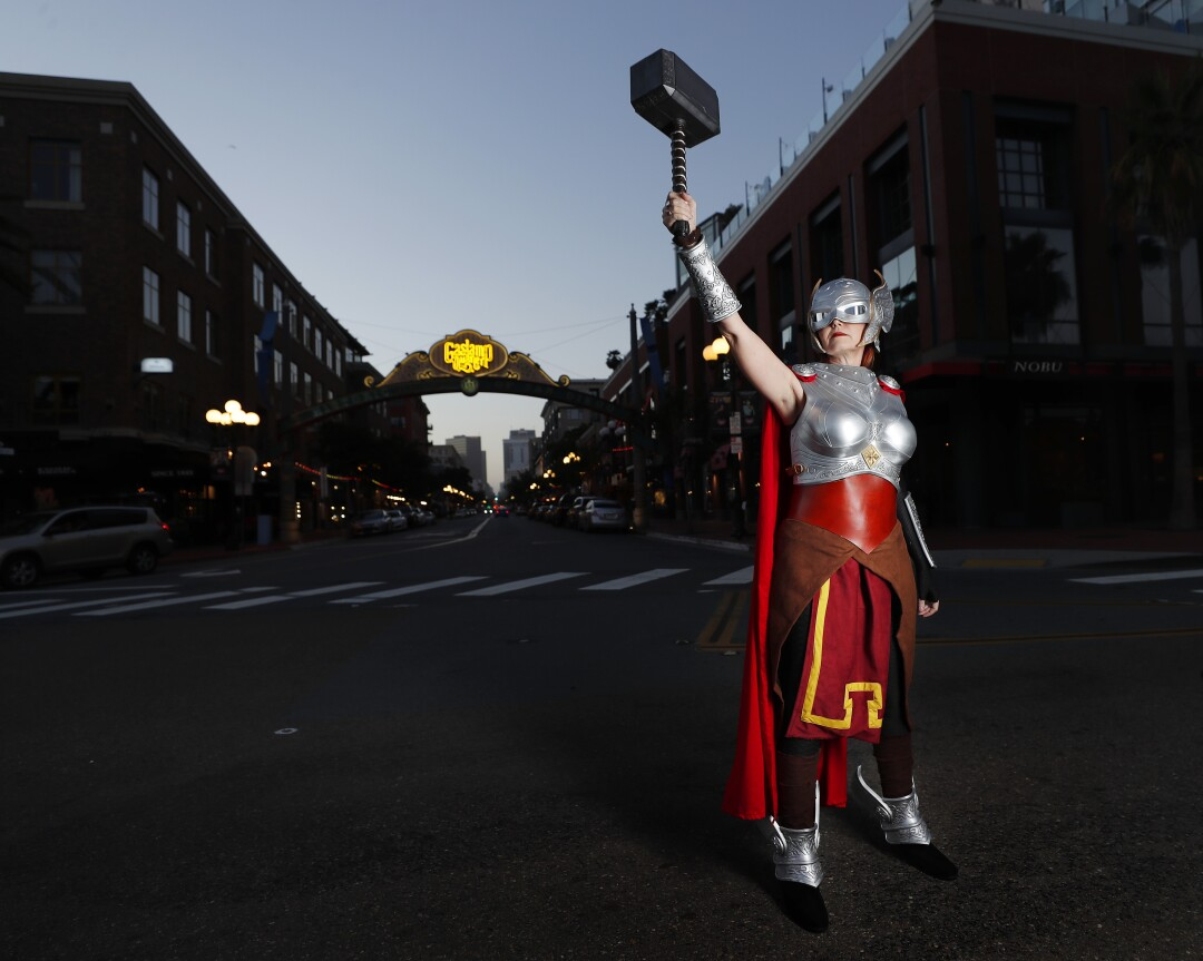 Colleen Rodriguez dressed as Marvel's Thor in San Diego's Gaslamp District.