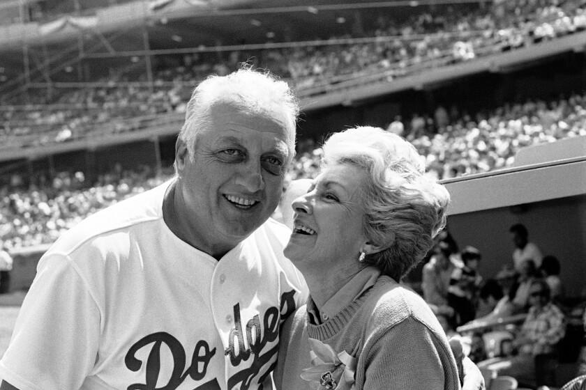FILE - Jo Lasorda, wife of Los Angeles Dodgers' manager Tommy Lasorda