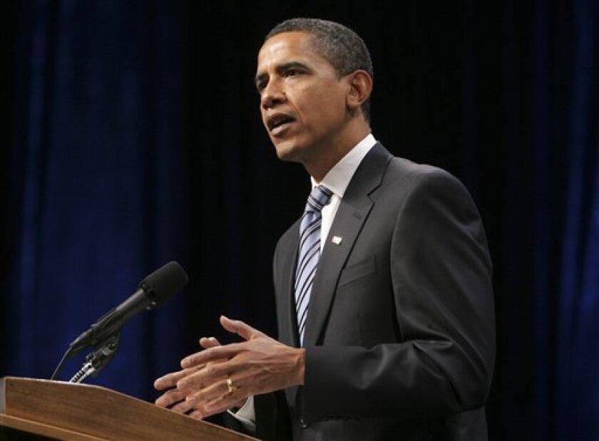 President-elect Barack Obama makes remarks on the nations economy, Thursday, Jan. 8, 2009, at George Mason University in Fairfax, Va. (AP Photo/Lawrence Jackson)