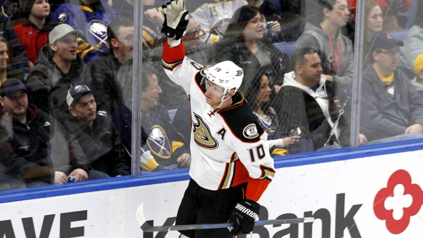 Ducks forward Corey Perry (10) celebrates after scoring a goal against the Sabres in the third period Thursday night in Buffalo.