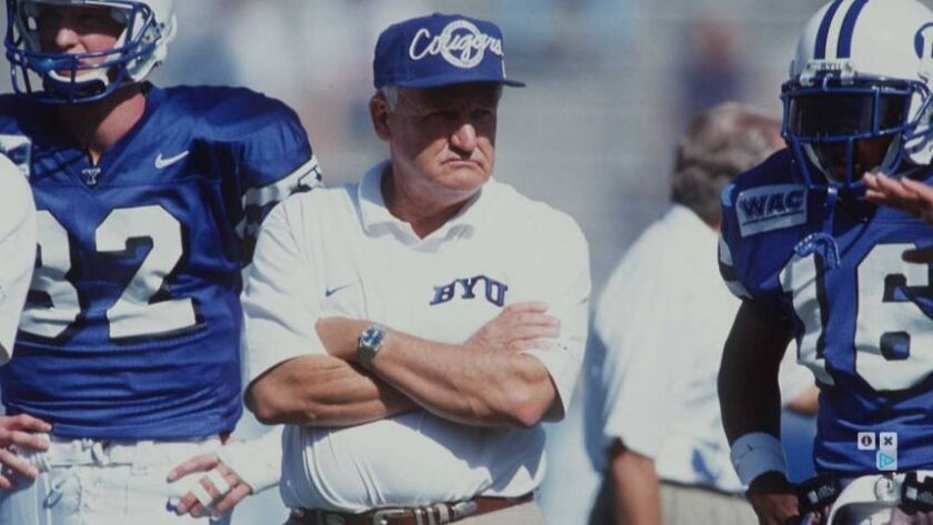 LaVell Edwards won 257 games in 29 seasons as head coach at BYU, which ranks seventh on college football's all-time coaching list.
