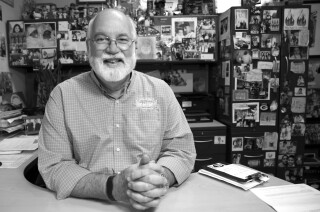 "A photograph of Greg Boyle for his book ""Barking to the Choir."" Credit: Eric Pulitzer/Homeboy Industries"