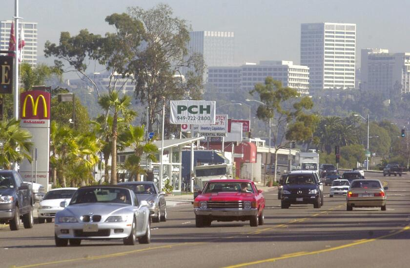 Traffic travels along the roughly 1 1/2-mile section of West Coast Highway in Newport Beach known as Mariners' Mile.