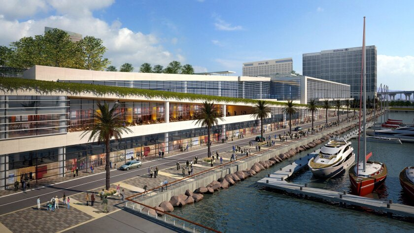 The San Diego Convention Center expansion would enclose the truck docks and include retail space along a beautified promenade leading to Embarcadero Marino Park South.
