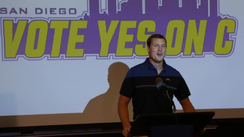 Chargers quarterback Philip Rivers was among those who spoke Tuesday at a news conference in support of the team's stadium effort.