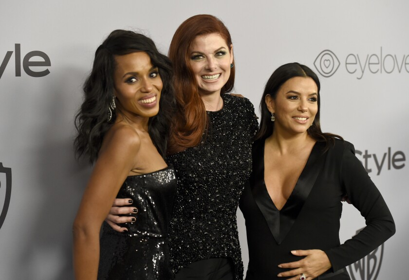 Kerry Washington wearing Prabal Gurung, from left, Debra Messing in Christian Siriano and Eva Longoria in a dress by Genny arrive at the InStyle and Warner Bros. Golden Globes after-party at the Beverly Hilton on Sunday.