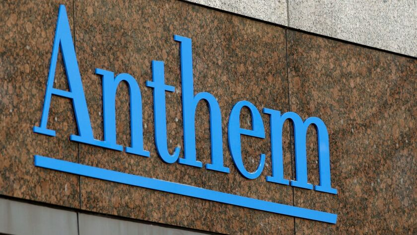FILE - This Dec. 3, 2014, file photo, shows the Anthem logo at the company's corporate headquarters