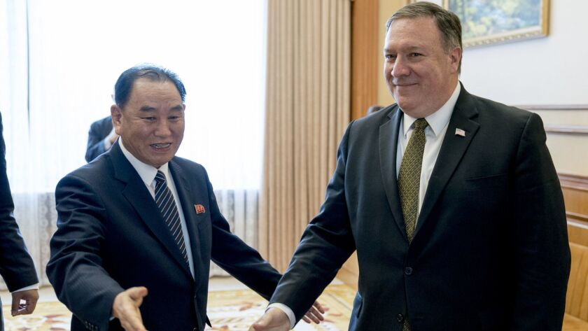 Secretary of State Michael R. Pompeo and Kim Yong Chol, a former North Korean intelligence chief, arrive for lunch at the Park Hwa Guest House in Pyongyang.