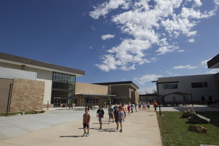San Marcos Unified School District's newest school, Double Peak, is the district's only K-8 facility.