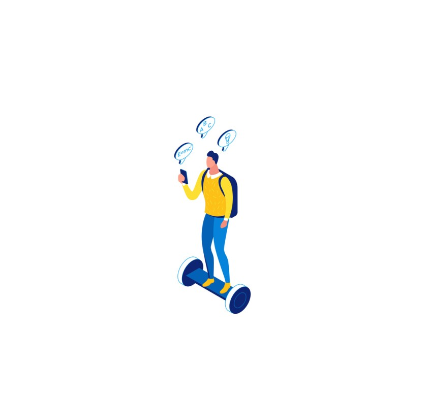 Man on gyroboard, online learning 3d isometric concept, , mobile phone, digital education technology, distance study, internet courses, blue, yellow line illustration