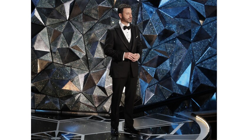 Host Jimmy Kimmel on stage during the 90th Academy Awards at Dolby Theatre in Los Angeles.