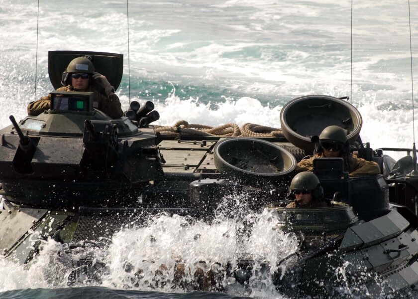 An amphibious assault vehicle in 2008. The vehicle was already more than 30 years old at the time.