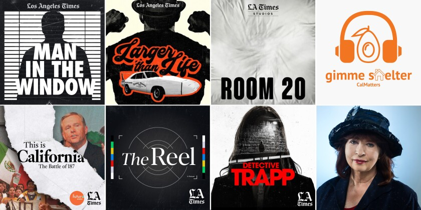 Logos depicting the slate of podcasts from The Los Angeles Times.