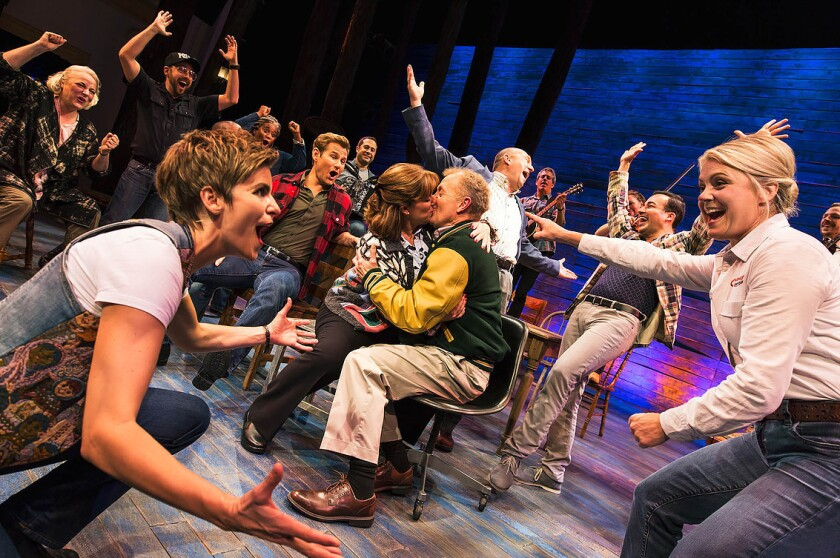 """The cast of the Broadway musical """"Come From Away"""" on Broadway at the Schoenfeld Theatre (236 West 45"""