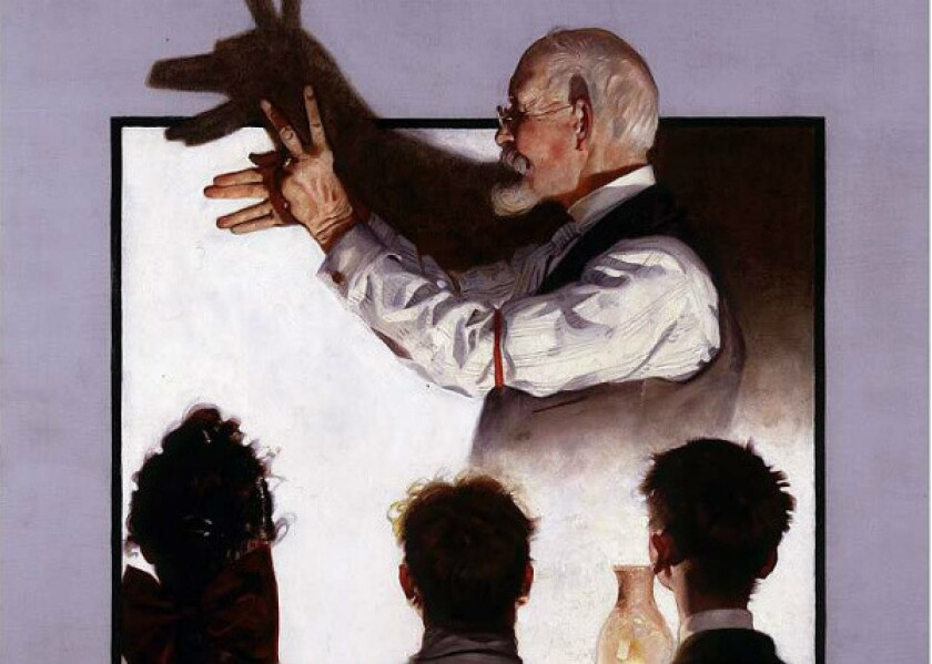 """A detail of Norman Rockwell's painting """"Shadow Artist,"""" which is in the personal collection of """"Star Wars"""" filmmaker George Lucas."""