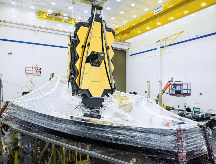 Technicians developing the Webb Space Telescope hit a milestone in October 2019 when they successfully deployed the sunscreen layers to their expected position while the Webb is orbiting the sun.
