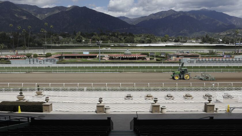 ARCADIA, CA-MARCH 28, 2019: The Santa Anita race track in Arcadia. The Stronach group, who owns the