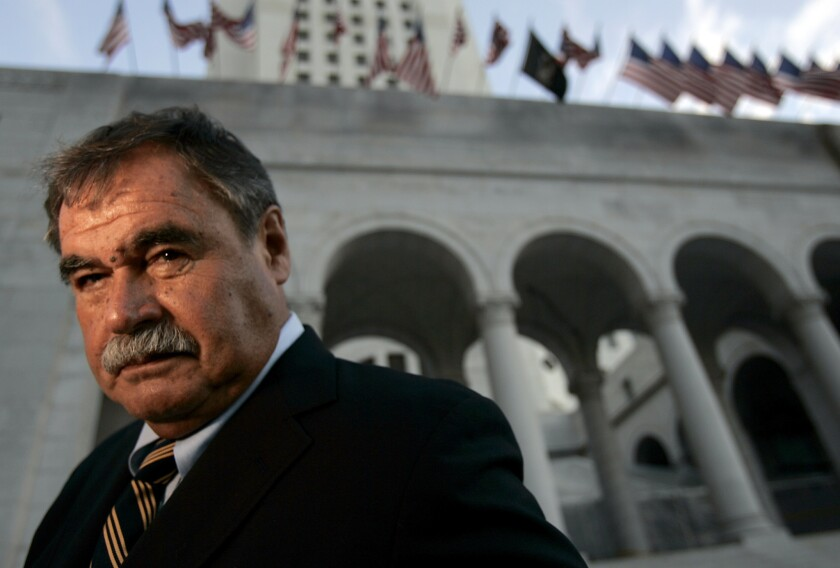 Los Angeles teacher Sal Castro photographed at the steps of City Hall. Castro was one of the leaders of the 1968 Chicano student walkouts, a protest for better schools that is considered the start of the Chicano movement.