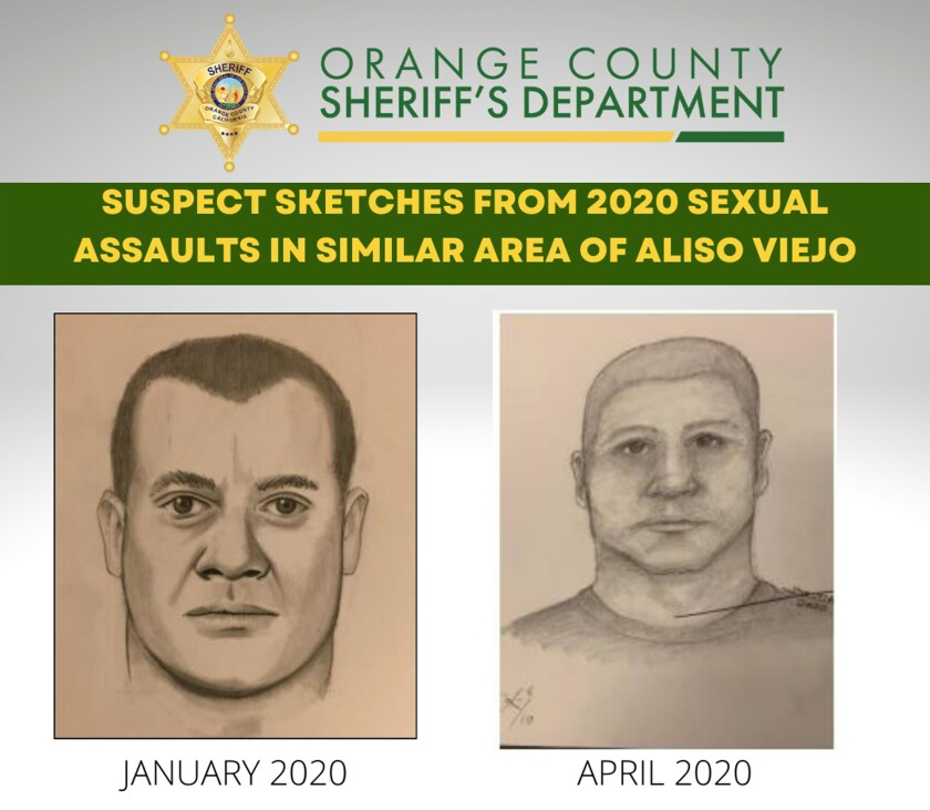In this flyer released by the Orange County Sheriff's Department are suspect sketches from 2020 sexual assaults in Aliso Viejo, Calif. Authorities have arrested an Army veteran in connection with brutal attacks on women in Southern California where he allegedly choked them into unconsciousness and assaulted them in the bushes off a running trail. (Orange County Sheriff's Department via AP)