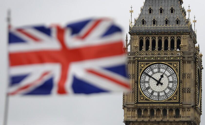 The British flag next to London's Big Ben