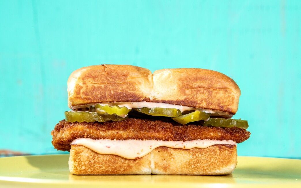 Fried Chicken Sandwich. Prop styling by Rebecca Buenik. (Mariah Tauger / Los Angeles Times)
