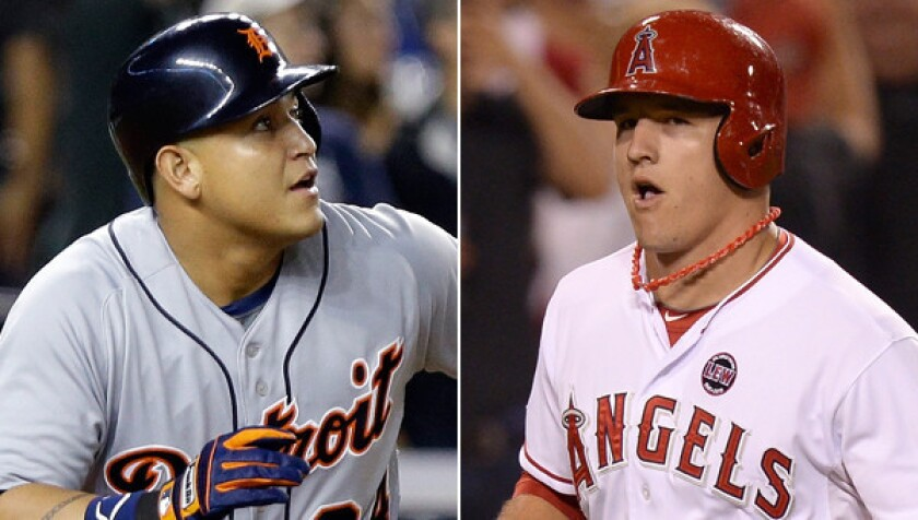 Tigers third baseman Miguel Cabrera and Angels outfielder Mike Trout will probably be the top two vote-getters for the AL MVP again this season.