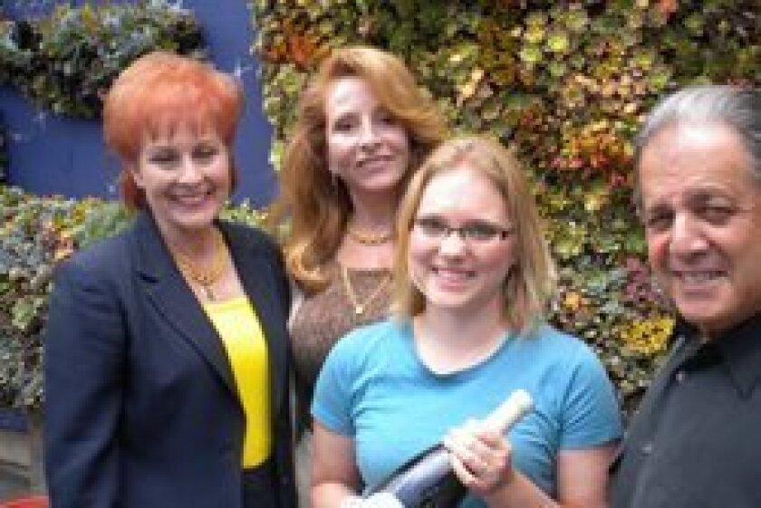 Rancho Santa Fe residents Leslie Barone, Susan Farrior, Vesper Vineyards owner Alysha Stehly and Jon Liss.