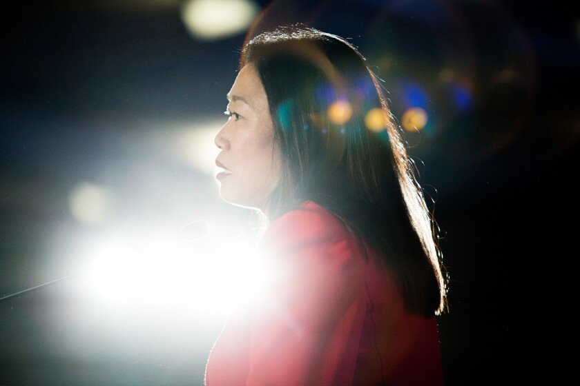 California state Sen. Janet Nguyen speaks Saturday at the California Republican Party convention in Sacramento.