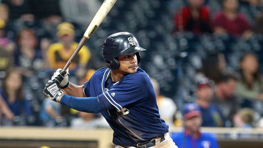 Padres prospect Fernando Tatis Jr. at bat in game  against Texas Rangers prospects during the Padres Futures Game at Petco Park on Friday.