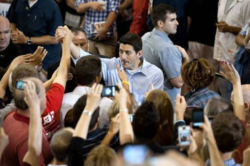 Paul Ryan greets supporters at Walsh University in North Canton, Ohio.