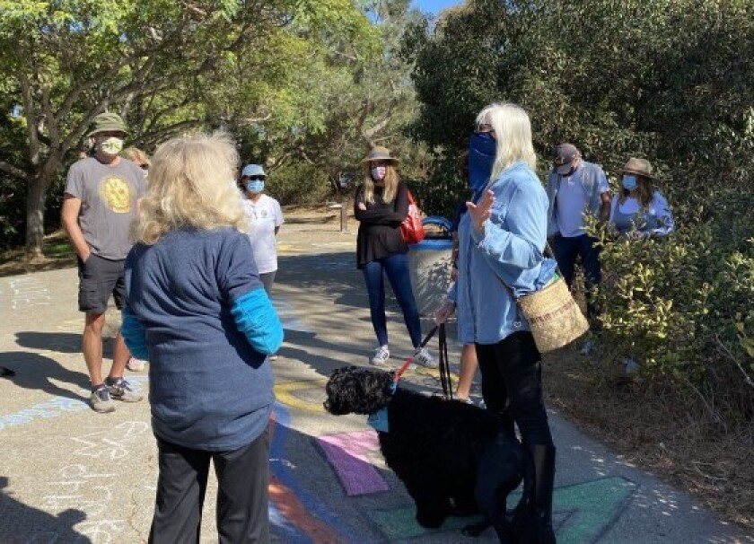 """La Jolla Parks & Beaches board member Mary Ellen Morgan (right) appears at an Oct. 31 """"ChalkUp"""" event."""