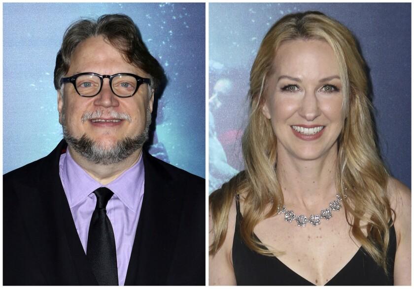 """En esta combinación de imágenes Guillermo del Toro, a la izquierda, y Vanessa Taylor, guionistas de """"The Shape of Water""""."""