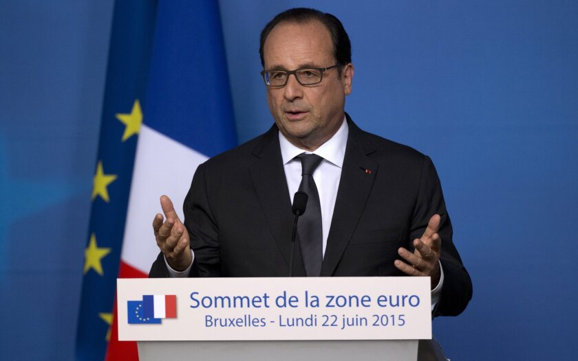 The Defense Council of French President Francois Hollande, shown this week at a European Union summit in Brussels, convened an emergency meeting on June 23.
