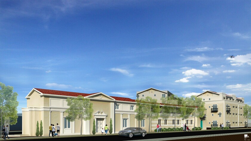 A rendering of Paul Williams Apartments, a proposed 40-unit complex for low-income families in South Central Los Angeles. The city of Los Angeles had to make up a funding gap in the project after the value of federal low-income housing tax credits decreased.