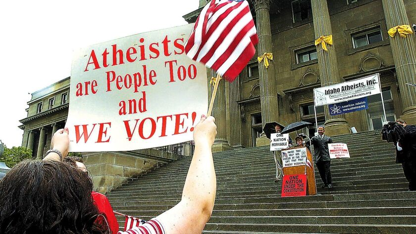 Atheists rally on the steps of the Idaho Statehouse in Boise in 2005.