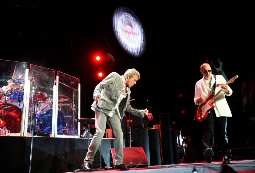 Roger Daltrey (left), Pete Townshend and The Who perform in Los Angeles in 2013.