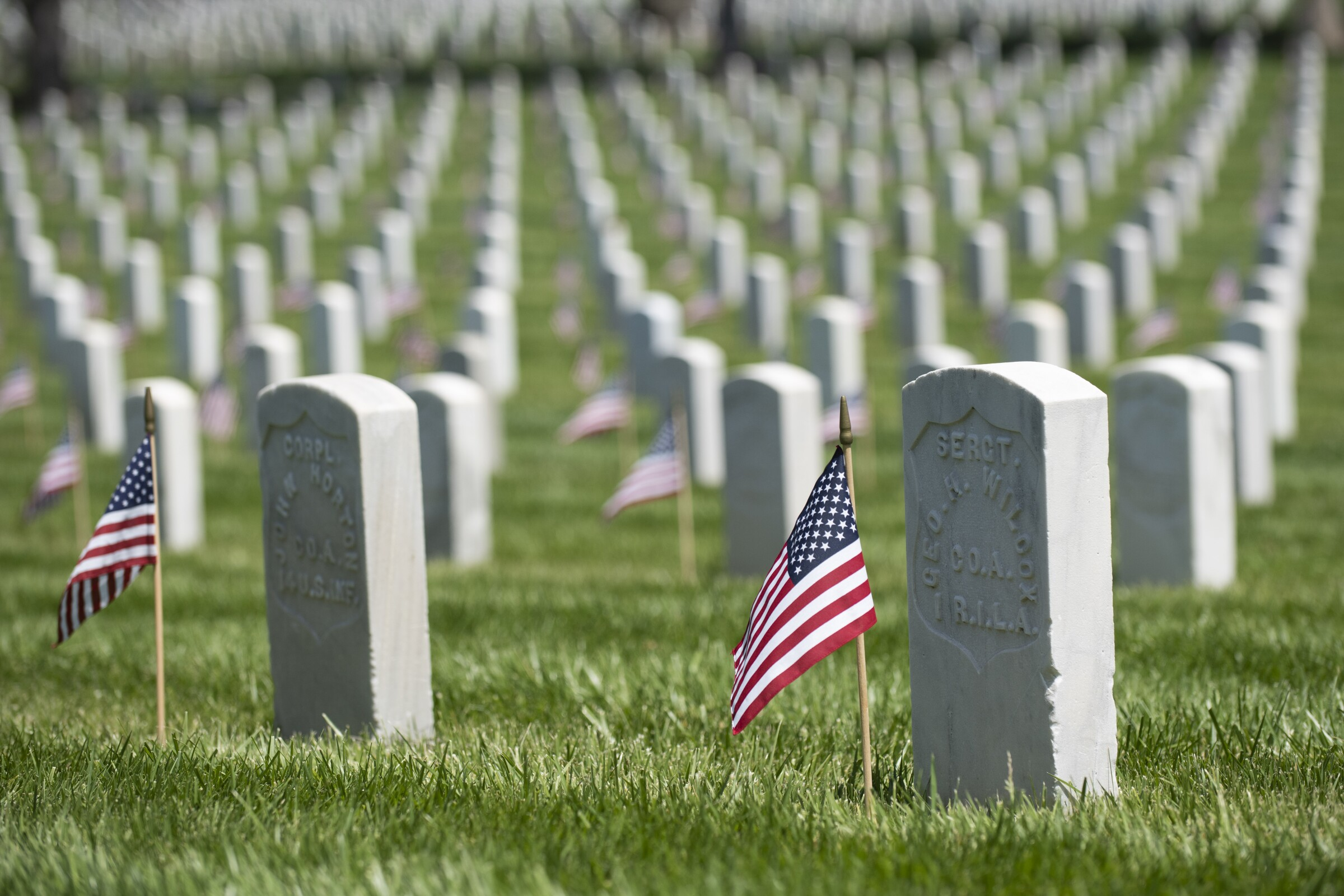 Small flags on graves at the Los Angeles National Cemetery on Memorial Day