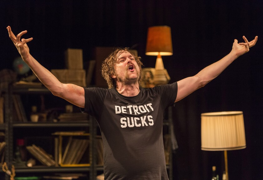 "Erik Jensen stars as Lester Bangs in ""How to Be a Rock Critic"" at the Kirk Douglas Theatre in Culver City."