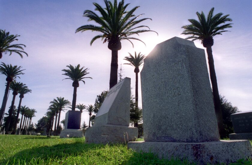 LS.Cemeteries–1 /18/96–Palm trees surround the graves and headstones in Santa Ana Cemetary which is