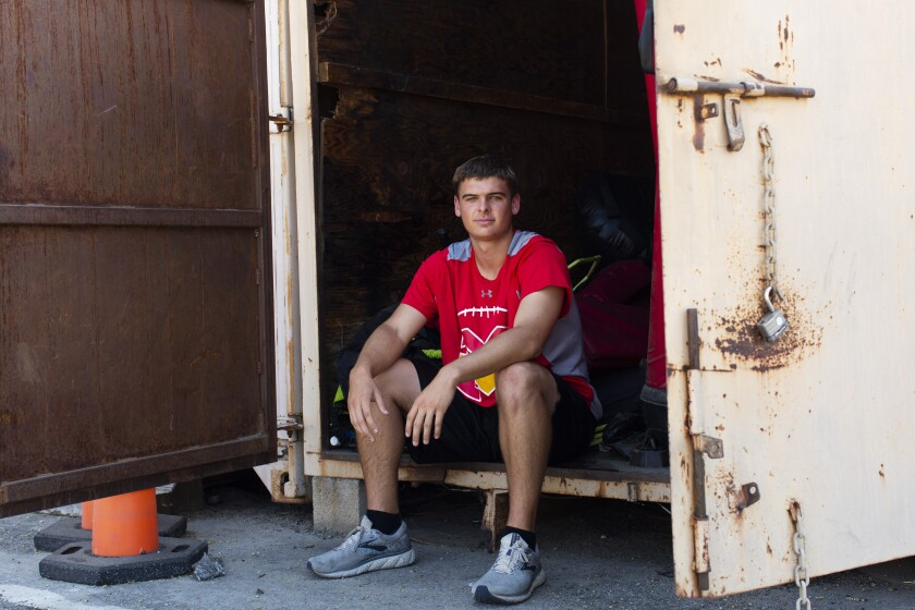 Mission Viejo quarterback Peter Costelli poses before the first day of conditioning earlier this week.