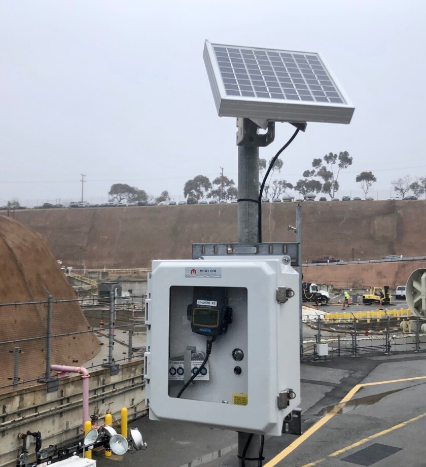 One of the monitors installed at the San Onofre Nuclear Generating Station to measure radiation at the storage facility that holds used up nuclear fuel in canisters at the plant.