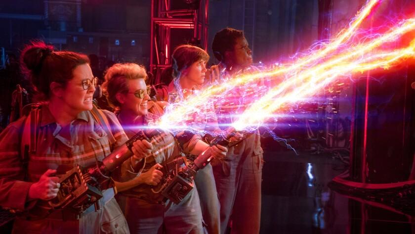 "Melissa McCarthy, from left, Kate McKinnon, Kristen Wiig and Leslie Jones in ""Ghostbusters."""