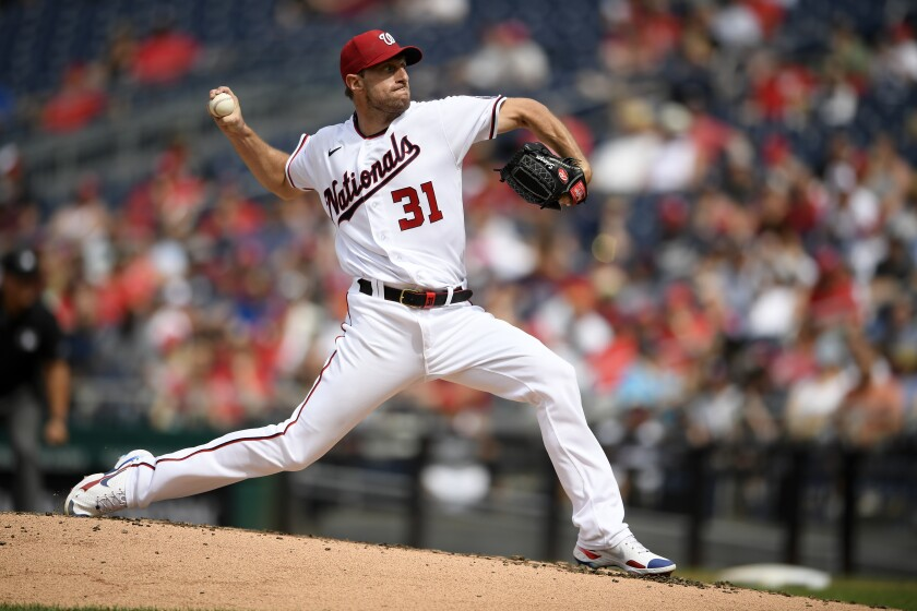 Washington Nationals pitcher Max Scherzer delivers a pitch against the San Diego Padres.
