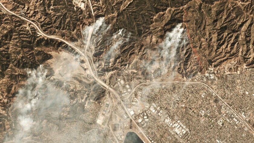 Satellite imagery of the Saddleridge fire on Oct. 11, 2019