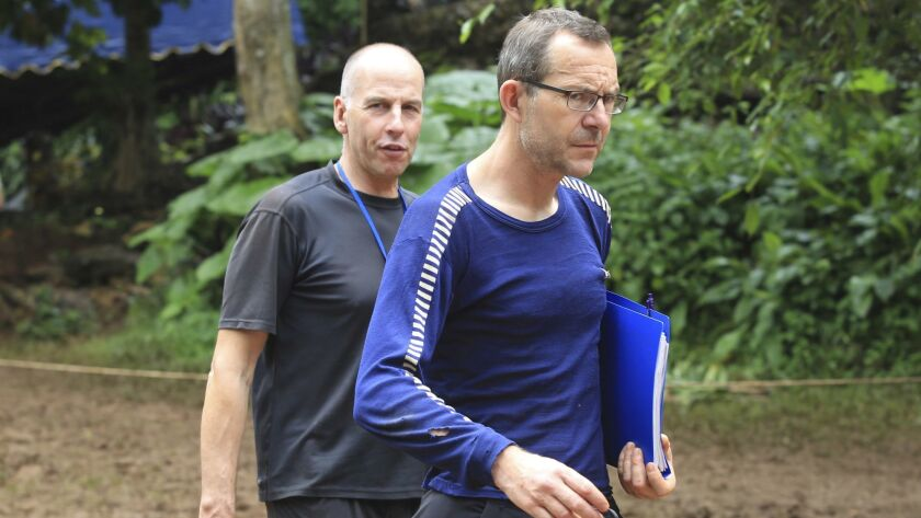 Richard Stanton, left, and John Volanthen arrive in Mae Sai, Chiang Rai province, in northern Thailand on July 3.